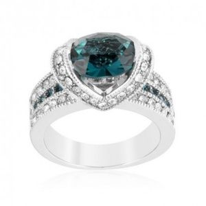 Jewelry - Rhodium Plated Teal CZ Ring Size 6